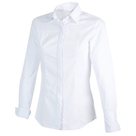 Chemisier Femme Blanc Polyester/coton Manches Longues