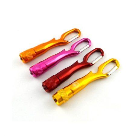 Métal Led Lampe De Poche Porte-clés Avec Ouvre-bouteille